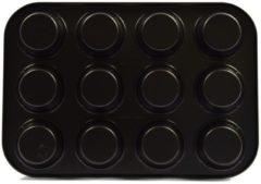 Zwarte Discountershop Muffinvormpjes 12 cups met Antiaanbaklaag