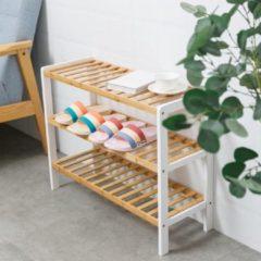 Witte Decopatent® Schoenenrek voor 9 paar schoenen - Schoenen Rek bamboe hout met 3 etages - Opbergrek - badkamerrek - 70 x 26 x 55 Cm