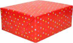 Duni 2x Inpakpapier / cadeaupapier rood met gekleurde stippen 200 x 70 cm - Cadeauverpakking kadopapier