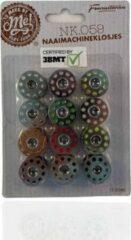 Beige 3 BMT 3BMT - Naaimachine 12 spoeltjes - met garen diverse kleuren - universeel
