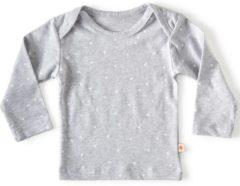 Little Label - baby - T-shirt - grijs, witte hartjes - maat 74 - bio-katoen