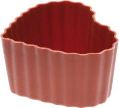 Bruine Siliconen Bakvorm - Sambonet - Cupcake hart mini - voor 6 stuks