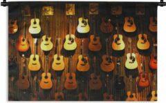 1001Tapestries Wandkleed Akoestische gitaar - Veel akoestische gitaren hangen aan een muur Wandkleed katoen 90x60 cm - Wandtapijt met foto