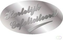 Etiket Haza hartelijk gefeliciteerd zilver