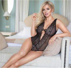 Softline - Elsie - Dames Lingerie - Kanten Body met Bloemen - G-String - Sexy Doorschijnende Lingerie Set - Open Rug - Uitdagende Bodystocking - Erotisch Setje - M/L - Zwart