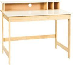 Woody Möbel Schreibtisch teilmassiv weiss/ natur