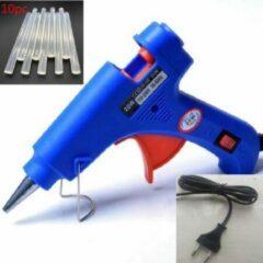 Blauwe Merkloos / Sans marque Lijmpistool - Incl 10 lijmsticks - 20w - Glue gun - Hobby - Creatief - Knutselen - 7 mm