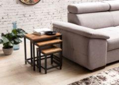 Wohnling 3er Set Design Beistelltisch AKOLA Sheesham Satztisch Metallbeine Tischset 3 teilig Materialmix Couchtisch aus Massivholz