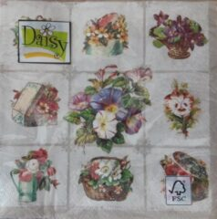 Daisy Servetten - Chessboard with Garden Flowers - 33 x 33