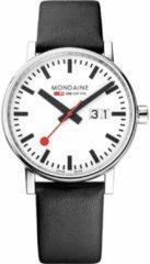 Witte Mondaine evo2 Big MSE.40210.LB Horloge - Leer - Zwart - Ø40 mm