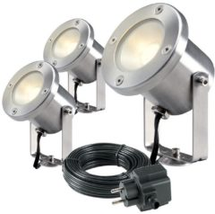 GardenLights Buitenspots RVS Catalpa set van 3 Gardenlights 4121603
