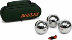 Merkloos / Sans marque 1x Zilveren jeu de boules sets in luxe tas - Kaatsbal /petanque- Actief buitenspeelgoed voor kinderen