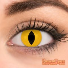 KawaEyes Demon Shine partylenzen carnaval carnavalskleding- incl. lenzendoosje - kleurlenzen - crazy lenzen - jaarlenzen - geel - feest - Halloween