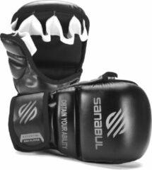 Sanabul Sports Sanabul Essential 7 oz MMA Hybrid Sparringhandschoenen - zwart, zilver - maat L/XL