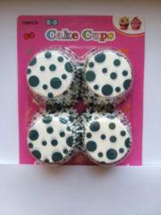 Het Borstelhuis vof Cupcake Vormpjes Papier - Muffin Vormpjes - 100 Stuks - Diameter 5 cm - Wit met Groene Stippen