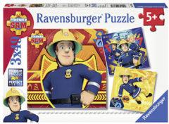 Grijze Ravensburger Brandweerman Sam. Bij gevaar Sam roepen- Drie puzzels van 49 stukjes - kinderpuzzel