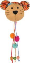 Flamingo Indy Muizenkop Met Kralen - Kattenspeelgoed - 100x20x45 mm Beige Oranje Turquoise