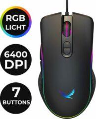 Paarse Silver Eagle Optische Gaming Muis – Ergonomisch – LED – Instelbare RGB Verlichting – 6400 DPI - Bedraad – 7 knoppen