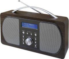 Donkerbruine Soundmaster DAB600DBR DAB+ FM radio met voorkeuze zenders en wekfunctie