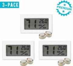 Qitch & Quisine Hygrometer Met Batterijen - Wit - Inclusief Thermometer - Digitale Luchtvochtigheidsmeter - Voor Binnen & Buiten - 2 in 1 - Set van 3