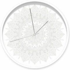 Dutch Sprinkles klok Mandala wit, witte rand, zilveren wijzers