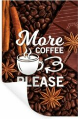 StickerSnake Muursticker Koffie Quotes 2 - Koffie quote 'More coffee please' met een achtergrond van koffiebonen - 60x90 cm - zelfklevend plakfolie - herpositioneerbare muur sticker