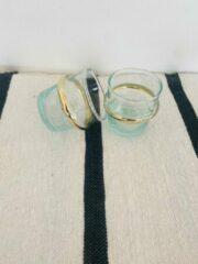 Transparante Moroccan Garden Traditioneel Espresso Glas |Set van 6 | Goud | Espresso Glas handgemaakt| S