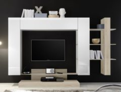 Pesaro Mobilia Tv-wandmeubel Jason 259 cm breed in wit met eiken