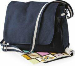 Canvas schoudertas navyblauw/donkerblauw 14 liter - Vintage schoudertassen/documententassen - Tassen voor dames/heren/volwassenen