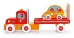 Oranje Scratch houten vrachtwagen met racewagen - 18 maanden+
