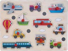 Merkloos / Sans marque Houten knopjes/noppen speelgoed puzzel voertuigen thema 30 x 22 cm - Educatief speelgoed voor kinderen