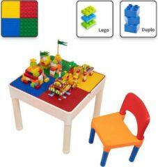 Decopatent® - Kindertafel met 1 Stoeltje - Speeltafel met bouwplaat en vlakke kant - Geschikt voor Lego® & Duplo® Bouwstenen
