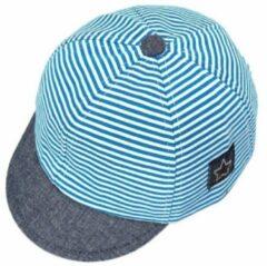 Slofjes-nl Baby petje | blauw met wit | 42-48 cm | 6-18 M