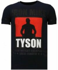 Blauwe Local Fanatic Iron Mike Tyson - Rhinestone T-shirt - Navy - Maten: XL