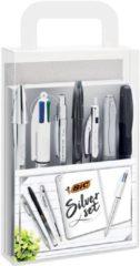 BIC Zilver schrijfset (1 notitieboek, 2 balpennen, 1 gelpen, 1 rollerbalpen, 1 permanente marker, 1 vulpotlood)