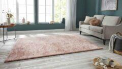 Tapeso Handgetuft hoogpolig vloerkleed Supersoft - roze 80x250 cm