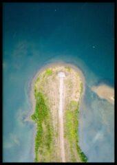 Blauwe Wallll Poster Drone Surf Spot- 30x40cm met Fotolijst – Natuur Poster – Ingelijst