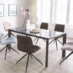 Wohnling Esszimmertisch NOBLE 122 - 182 cm ausziehbar dunkelgrau Metall / Glas Tisch für Esszimmer rechteckig Küchentisch 4 - 8 Personen Design Ess
