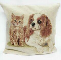Bruine Emme Kussenhoes - Kat en Hond - Gobelin - Kitten - Puppy
