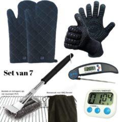 Gohh® Set van 2 BBQ Handschoenen (Kevlar-Aramide), 2 Canvas Ovenwanten, 1 BBQ Borstel met Schraper, 1 Zwarte Inklapbare vleesthermometer en 1 Digitale Kookwekker