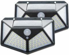 Zwarte Merkloos / Sans marque Solar Sensor Light - Buitenlamp met Bewegingssensor - 100 LEDs - Wit Licht 2 stuks