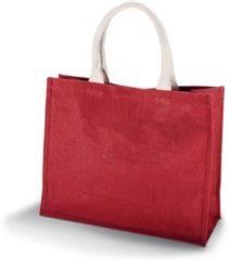 Kimood Jute rode shopper/boodschappen tas 42 cm - Stevige boodschappentassen/shopper bag