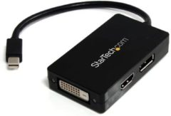 Zwarte StarTech.com A/V-reisadapter: 3-in-1 Mini DisplayPort naar DisplayPort DVI- of HDMI-converter