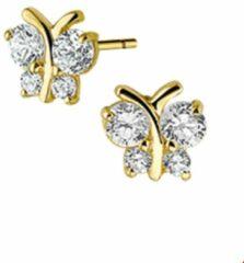 Goudkleurige Yep! The Jewelry Collection Oorknoppen Vlinder Zirkonia - Geelgoud