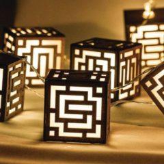 Bruine HQ Lichtslinger houtkleurig blok 10 LEDs