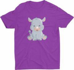 Paarse Pixeline Rhino #Purple 96-104 t/m 4 jaar - Kinderen - Baby - Kids - Peuter - Babykleding - Kinderkleding - Rhino - T shirt kids - Kindershirts - Pixeline - Peuterkleding