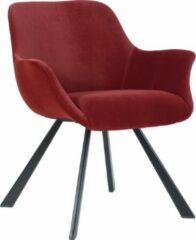 Alora Stoel Alan Donkerrood - Velours - relaxstoel - fauteuil - eetkamerstoel