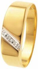 Lucardi - Geelgouden zegelring met diamant