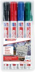 Rode Edding 4-3300-4 Permanent marker Zwart, Rood, Groen, Blauw Schegvorm 1 - 5 mm 4 stuks