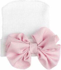 KidsLuxury Geboortemuts / babymuts / ziekenhuismuts wit met roze glanzende strik - 0 tot 1 maand